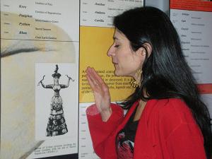 Kalliopi Minioudaki with her Cretan ancestry on the timeline in the Sackler Center for Feminist Art.