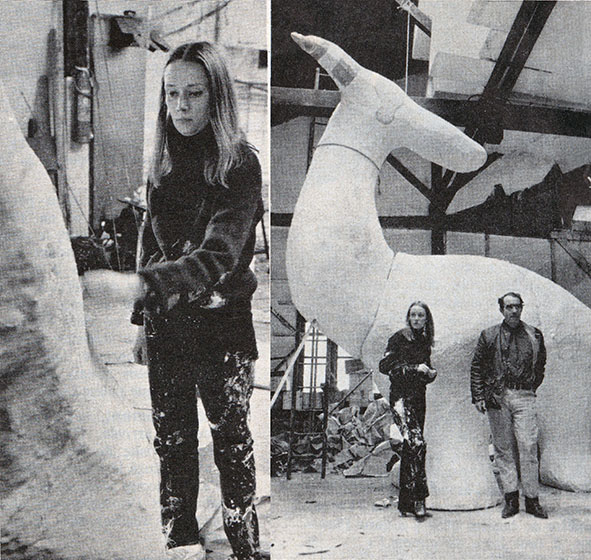 Niki de Saint Phalle and Jean Tinguely working on the Fantastic Paradise, in Les Buttes-Chaumont, Paris, Press Clip from L'EXPRESS 6-12 March 1967
