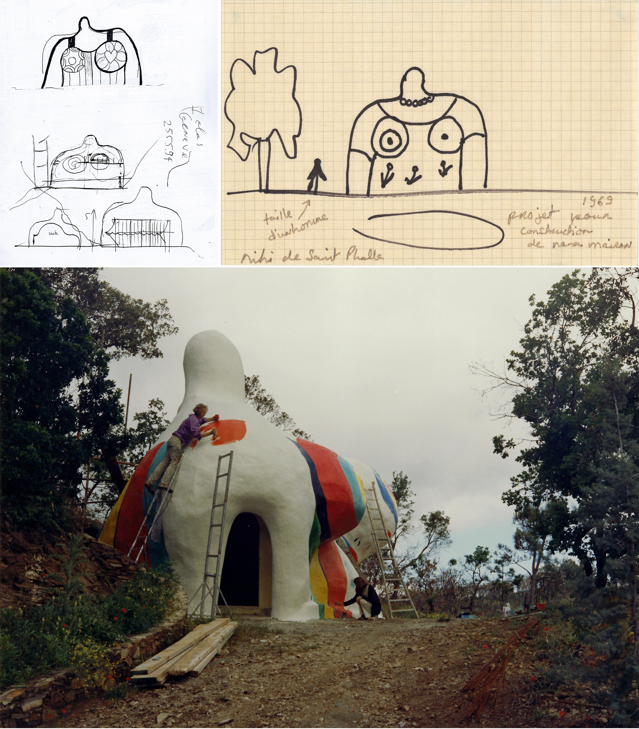 """A pencil drawing by Niki de Saint Phalle and Jean Tinguely of the outside of Big Clarice in frontal view, as well as primitive structural lines inside and with a canopy. Next a black marker drawing on grid paper showing Big Clarice next to a figure and a tree. The notes in Niki de Saint Phalle's handwriting say: """"taille d'un home"""" and """"1969 project pour construction de nano maison"""" Bottom pictures shows Rainer von Hessen on a ladder painting orange patches on Big Clarice. Niki de Saint Phalle paints the front kneeling down."""