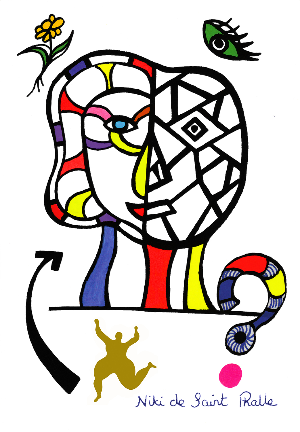 """A colorful drawing of the sculpture titled """"Coming Together"""" with a flower, and eye, an arrow, a dancing Nana and a question mark surrounding it. The signature of the artist is below the design. This is the invitation to the dedication ceremony of the public sculpture."""